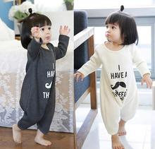 2016 new Spring autumn baby girls boys beard print white gray romper Childrens baby clothing kids
