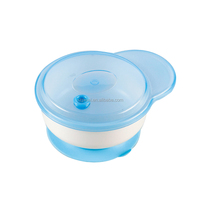 2019 New Arrival Silicone Suction Baby Food Feeding Bowl With Handle With Lid