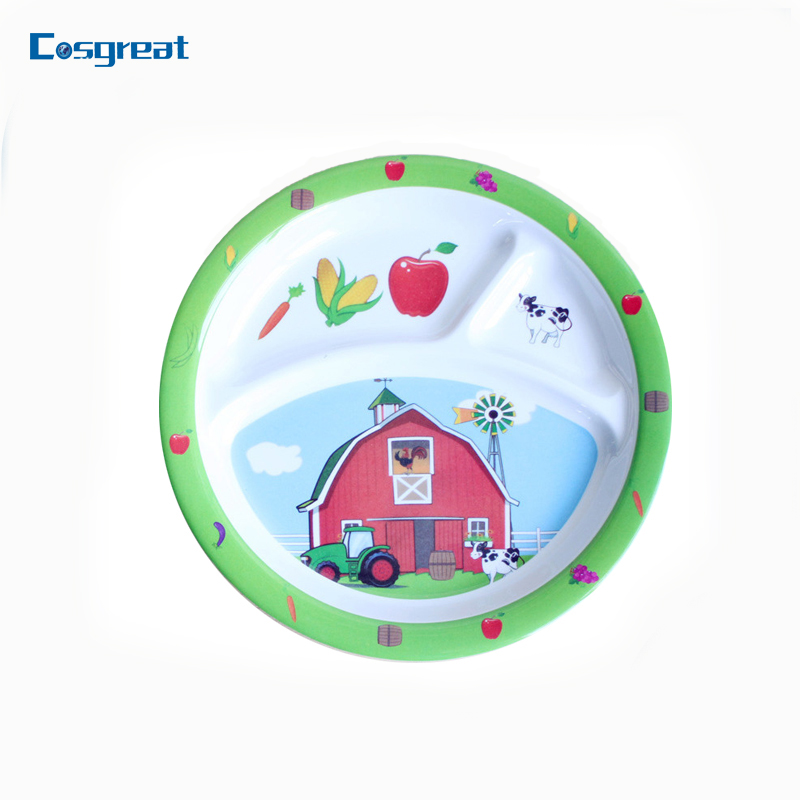 Promotional melamine dinner dish for kids