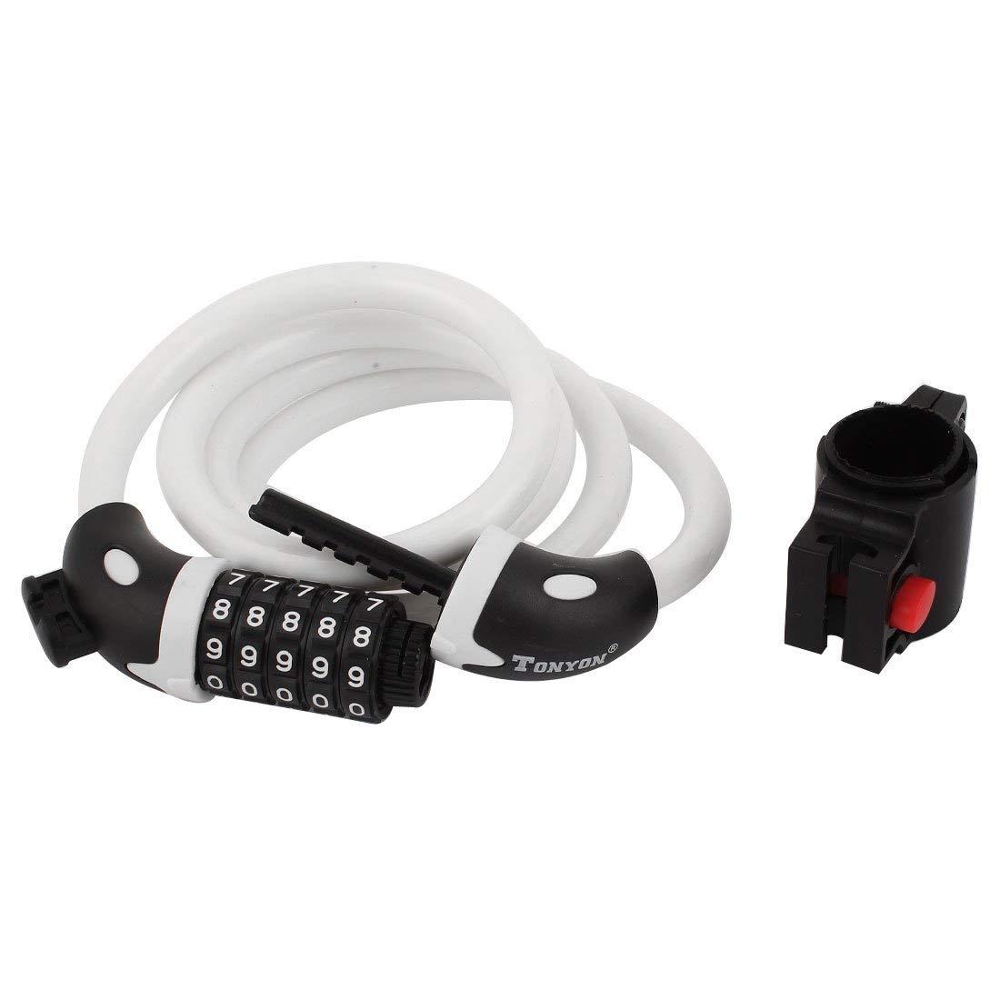 Aexit Motorcycle Bicycle Bike Locks Spiral Steel Wire Cable 5-Digit Combination U-Locks Lock White