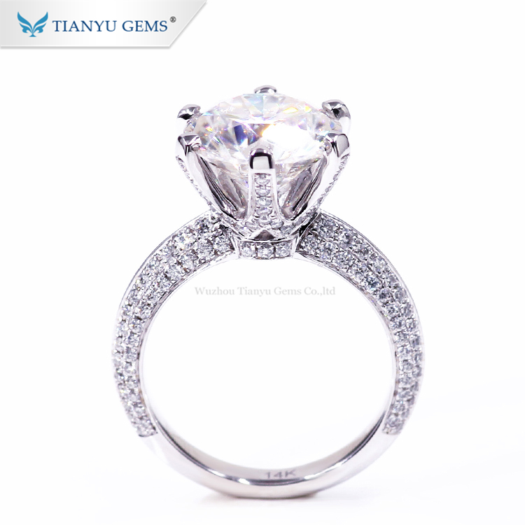 Luxury gold jewellery price 5 carat super white forever brilliant round moissanite ring with 3/4 pave band