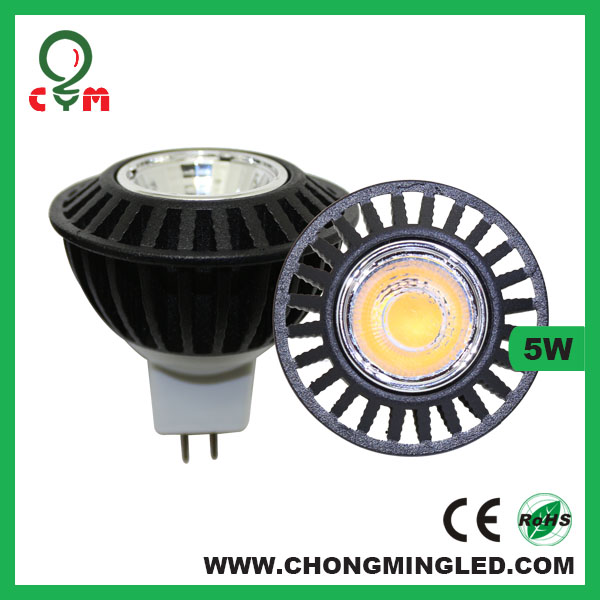 5w gu 10 led cob black fin dimmable ce rohs