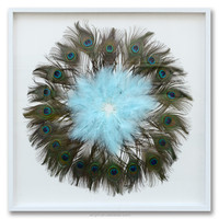 Popular Decorative modern wall art painting peacock feather shadow box photo frame photo