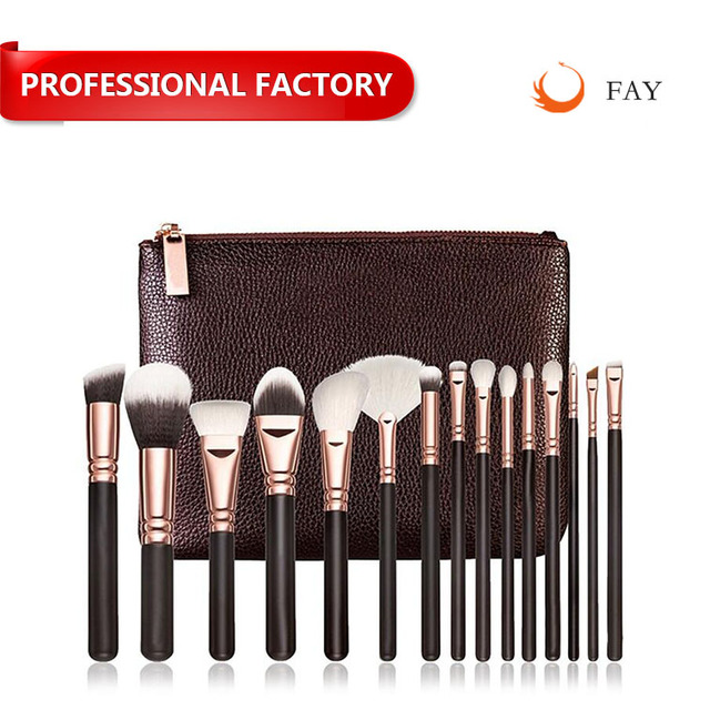 professional hot seller best goat hair 15pcs sets makeup brushes kit cosmetic tools with zipper case