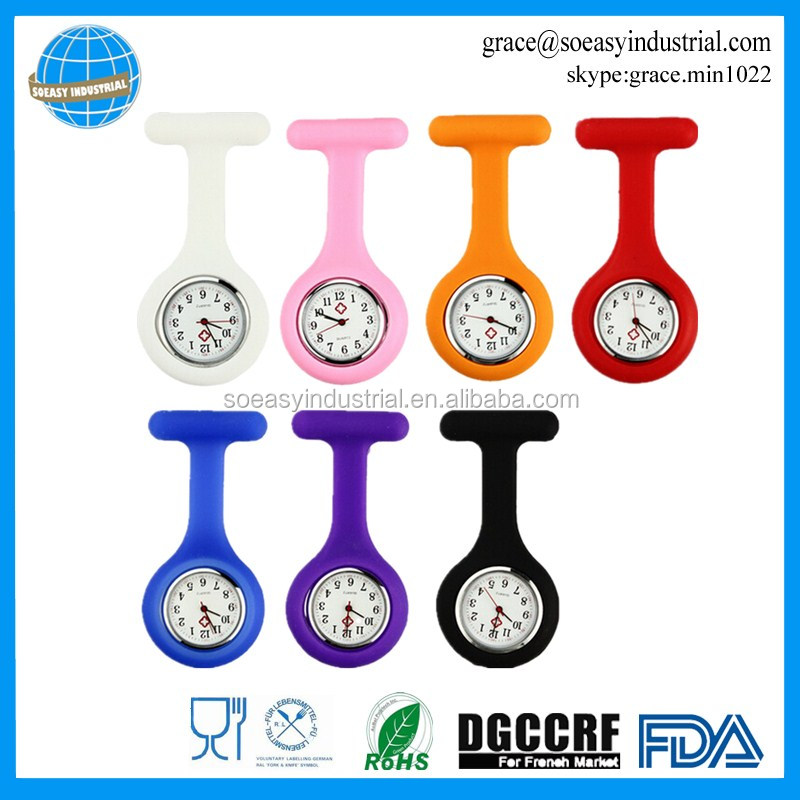 Stable CE certificate quartz movement silicone nurse brooch watch