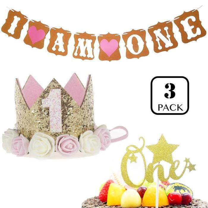 1st Baby Girl Birthday Party Hat Gold Crown And Cake Topper One Set Including