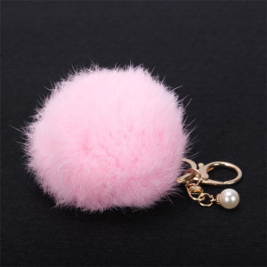 Stylish mobile phone chain car key chains 8cm real rabbit fur pompons key ring with pearl