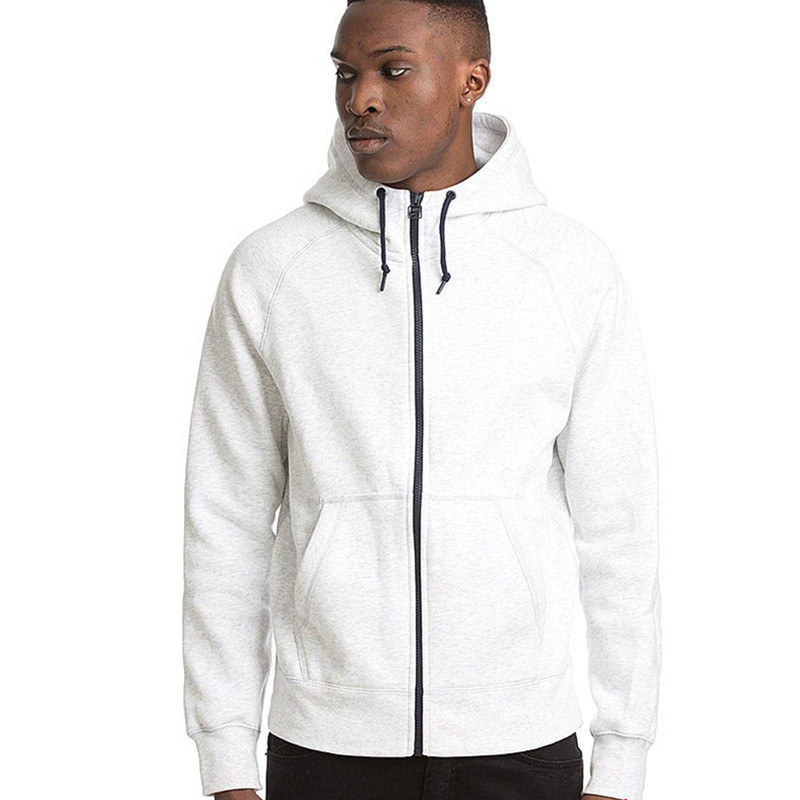 mens 100% cotton plain white full zip hooded top