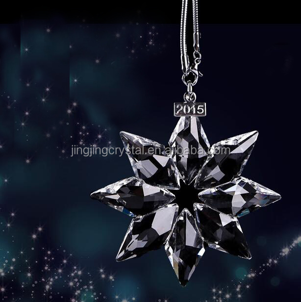Clear Crystal Snowflake Pendant Ornament For Christmas Decorating