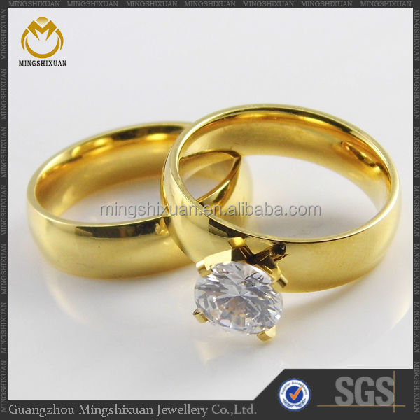 Free shipping stainless steel jewelry elegant design gold plated wedding ring