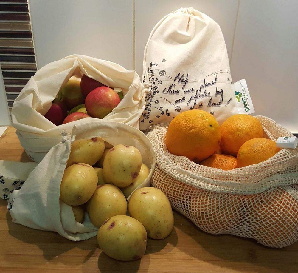 Recycled cotton drawstring reusable produce grocery bag