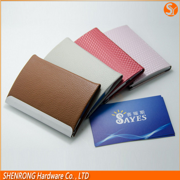 PU leather brown business credit card holder with stainless steel metal strip and magnetic closure