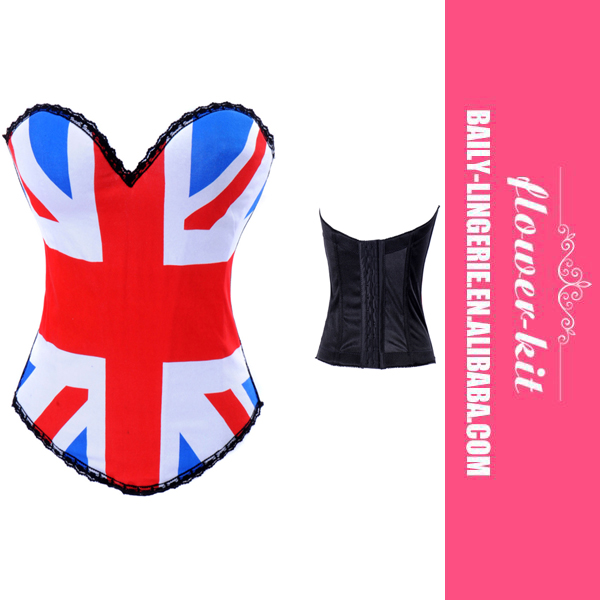 Wholesale Price UK Flag Style Overbust Corset And Bustier Lingerie