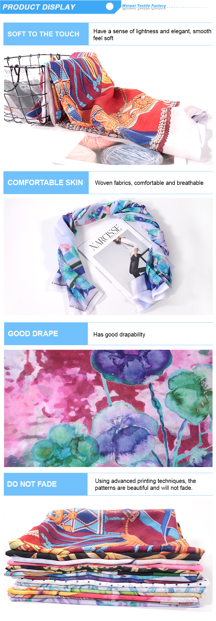 print service digital printed cotton voile scarf no moq