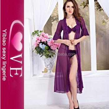 b7f5592295 Long Sexy Lingerie Night Wear Dress With Panty For Women Underwears ...