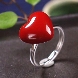 925 silver ring with orange stone 18k gold plating 925 sterling silver natural red coral ring for women heart shape ring