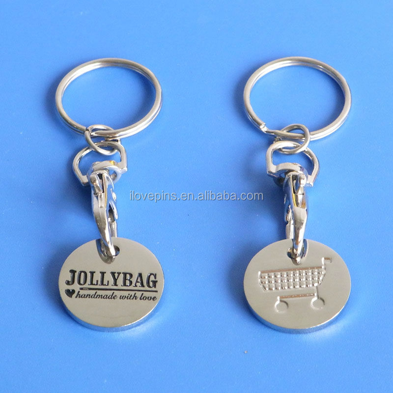 Hot sales hand polish brass stamp with custom company logo shopping coin keychains