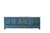 Six door four drawer reclaimed wood shiny finish TV cabinet Blue Asian high glossy antique chinese furniture old cabinet