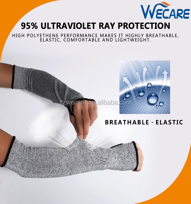 Cut Resistant Knit Sleeves Slash Resistant Protection Sleeves With Thumb Slot DL
