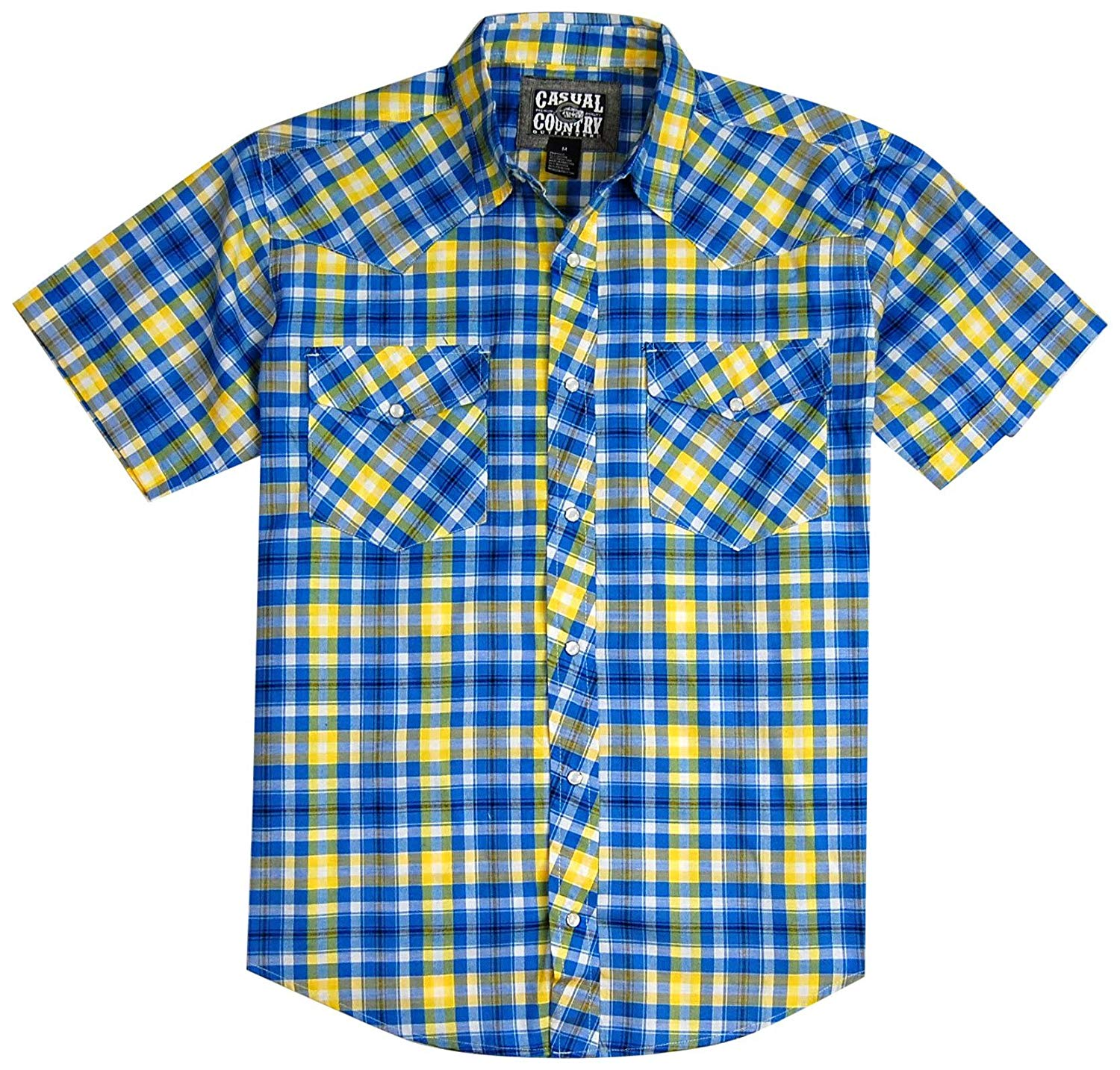 Men's Classic Plaid Short Sleeve Casual Western Shirt; Pearl Snap Front