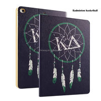 Color Printing Folio Stand PU Leather Case for iPad, Smart Flip Cover Case for iPad2 3 4 (Feather Basketball)