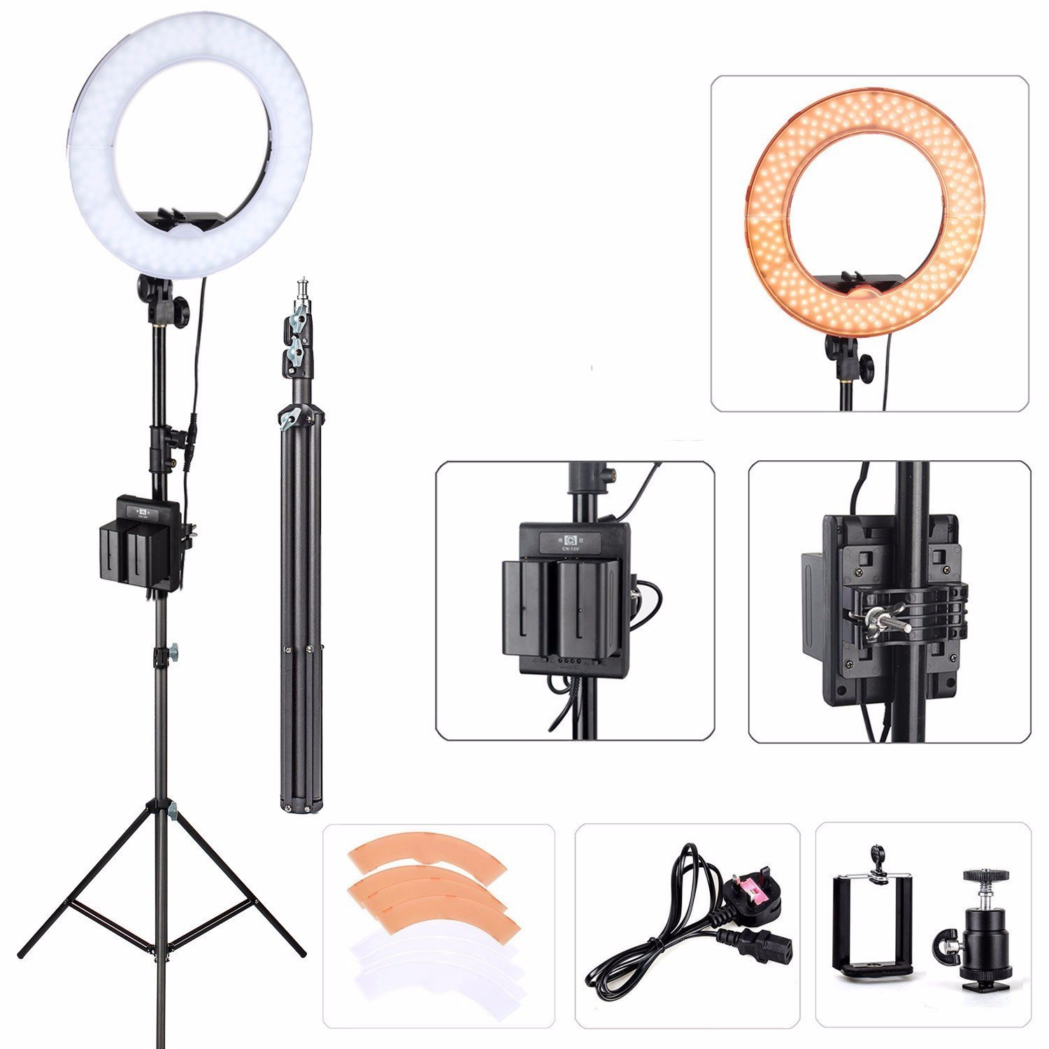 """EACHSHOT ES180 Kit, {Including Light, Stand, Portable Power Supply, Phone Clamp, Tripod Head }180 LED 13"""" Stepless Adjustable Ring Light Camera Photo/Video Portrait photography 180pcs LED 5500K Dimmab"""