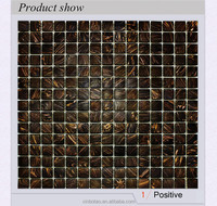 Coffee Brown Gold Line Glass SPA Shower Room Wall Mosaic Tiles