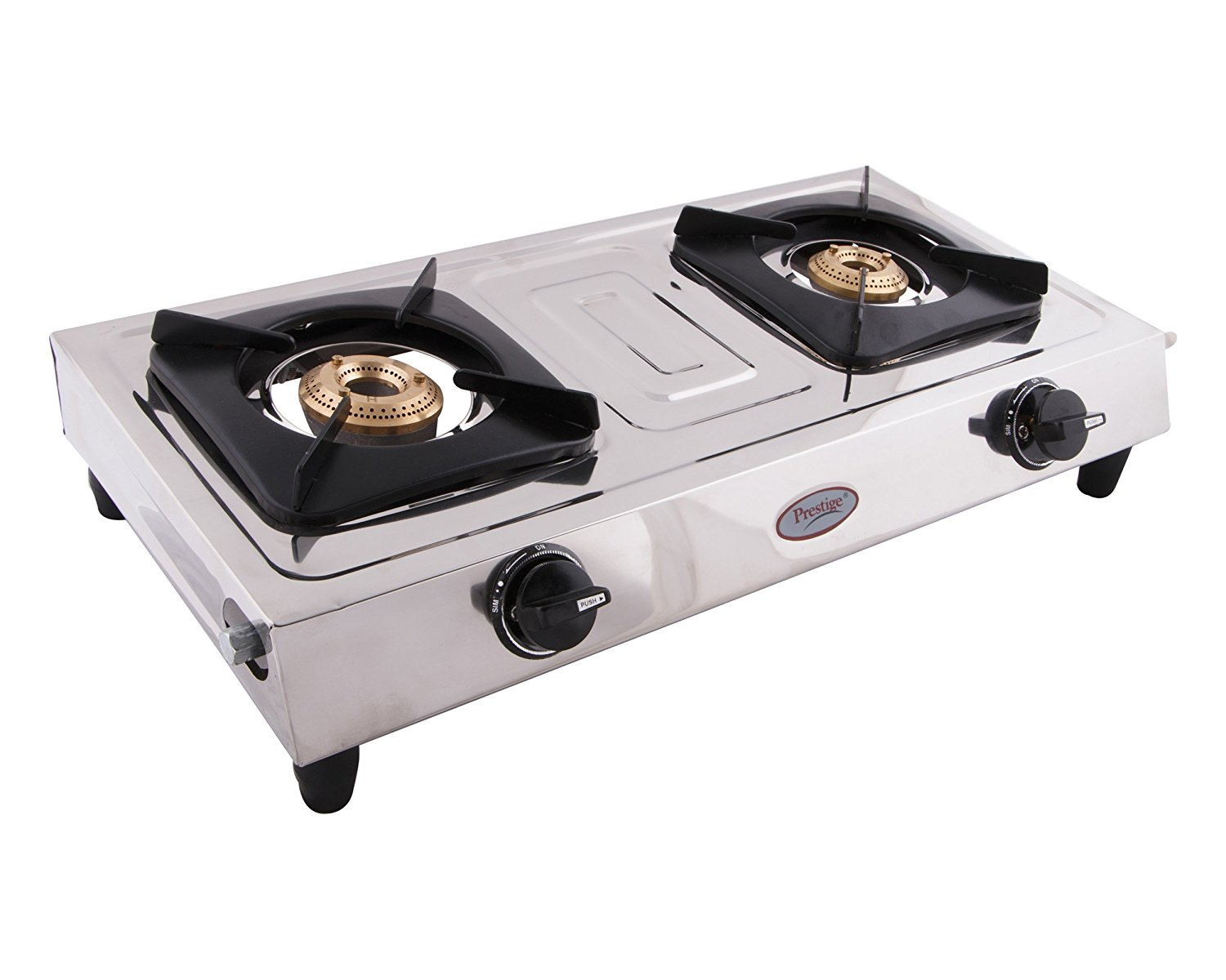 Get Quotations · Prestige Star Stainless Steel 2 Burner Gas Stove, Metallic  Silver