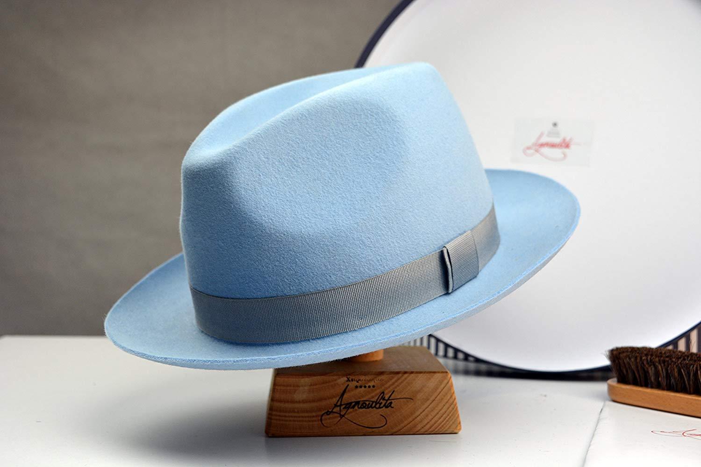 Get Quotations · The Club - Light Blue Rabbit Fur Felt Fedora Hat - Medium  Brim - Men Women 1b05127d410d
