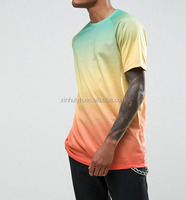 Custom Raglan Sleeve Ombre Color Sublimation Print Short Sleeve Tee