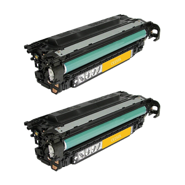 CS Compatible Toner Cartridge Replacement for HP CP3525dn CE250A Black HP 504A Color Laserjet CM3530 CM3530FS CP3525 CP3525N CP3525DN CP3525X CP3520 CM3530FS MFP CM3530MFP 2 Set