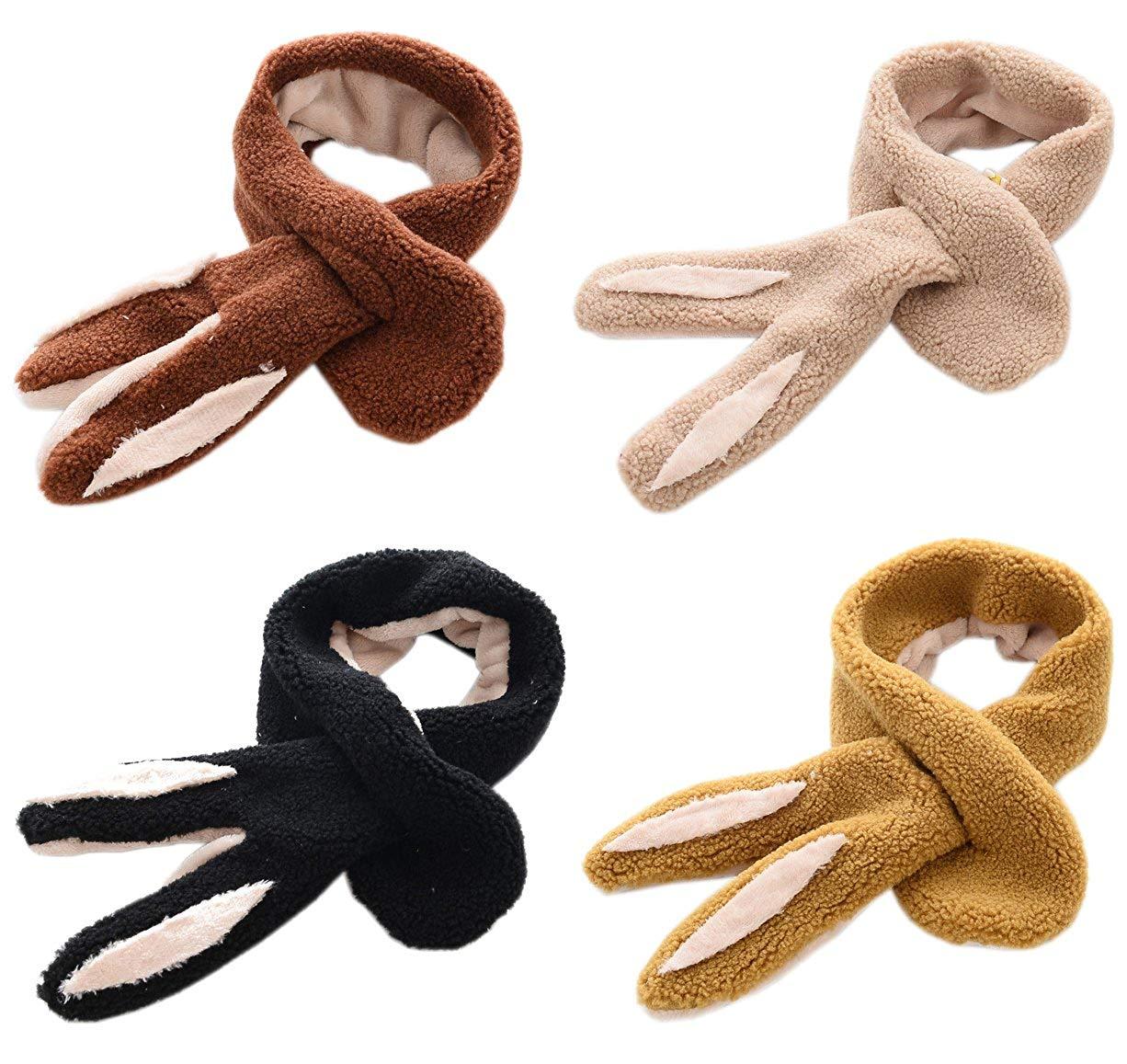 AnVei-Nao Girls Boys Winter Warmer Child Kids Thick Rabbit Ear Furry Plush Scarf