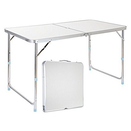 Get Quotations · Eshion 4ft Portable Folding Table With Carrying Handle  Portable Square Table For Beach Camping Hiking Outdoors