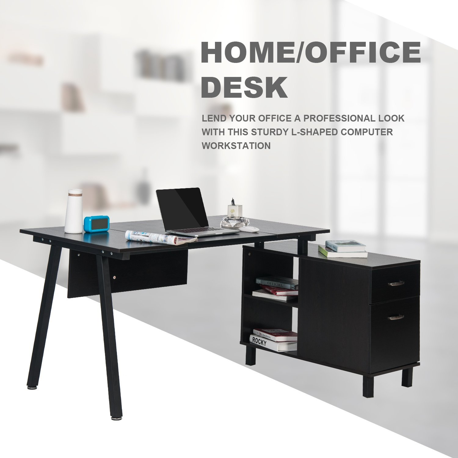 Merax L-Shaped Desk with Storage Cabinet Computer Desk Stylish Computer Desk Home and Office Desk Table (Black (PVC Leather))