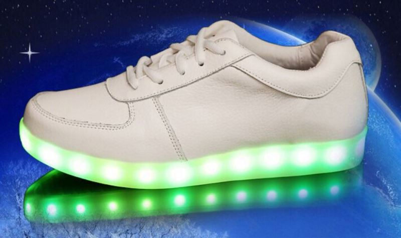 High quality unisex white sport LED light up sneakers shoes