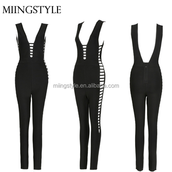Oem One Piece Bodycon Sexy Ladies Suit Tight Rompers Bandage
