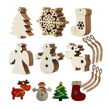 60pcs set DIY Paint Wooden Hanging tag Crafts wooden mini Christmas Ornaments Christmas tree decoration