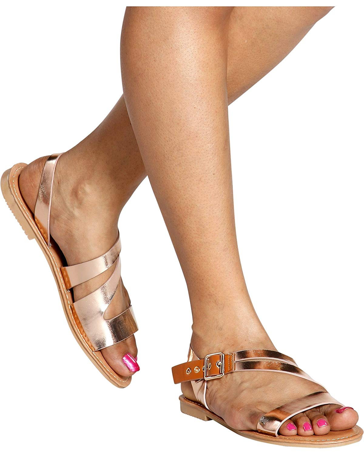 feee354858aa Get Quotations · Jessica Carlyle Women s Casual Open Toe Strappy Gladiator Ankle  Strap Flat Sandals