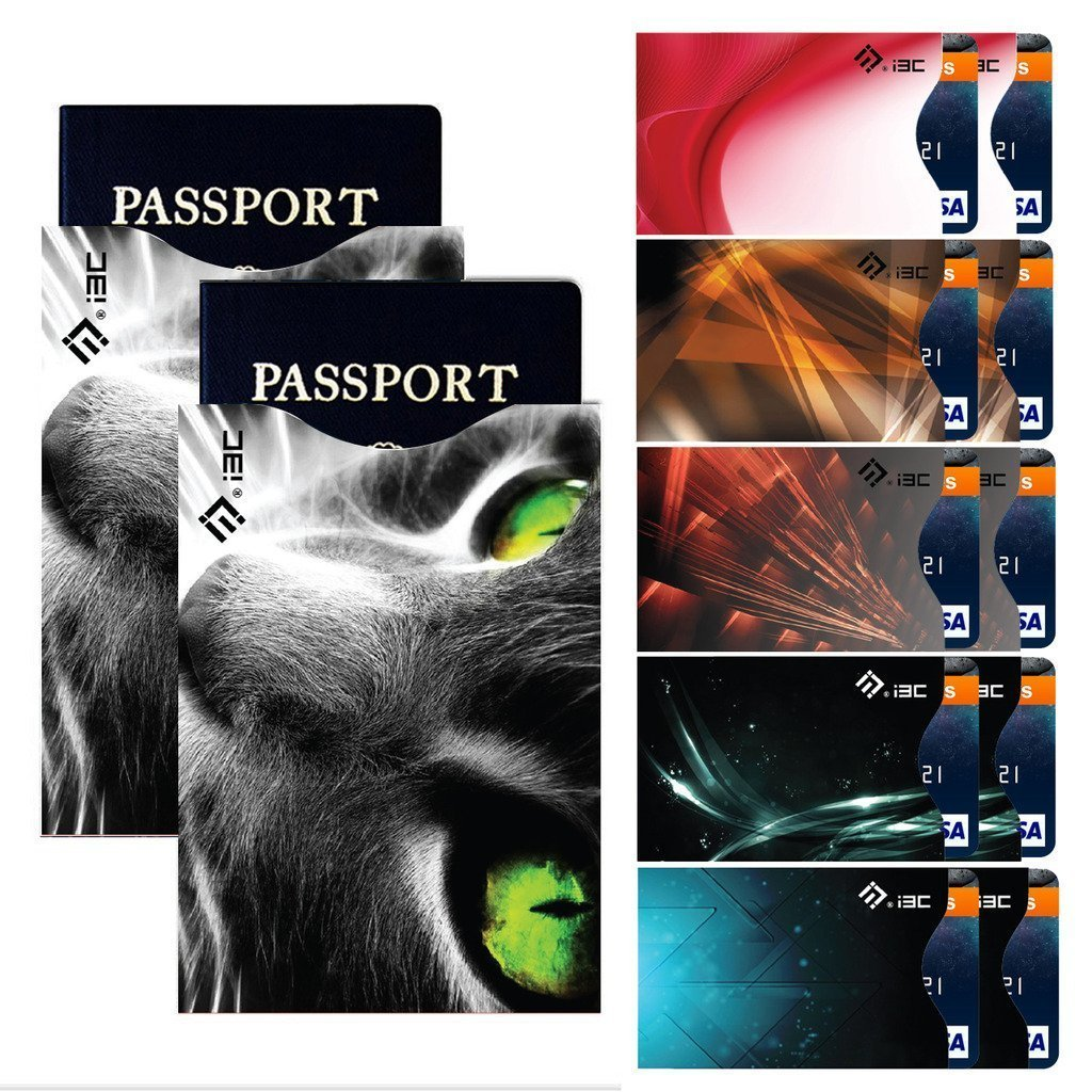 Lanyifang RFID Blocking Sleeves, Set of 12 (10 Credit Card Holders & 2 Passport Protector) Top Identity Theft Protection Sleeve Set for Men & Women, Smart Holders Fit Wallet & Purse