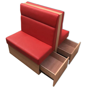 Restaurant Furniture Dining Bench Booth Seating With Side Drawer For Storage In Red Leather