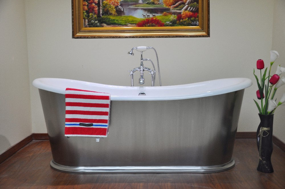 Nh-1008-10-ss 1676mm Hot Sale Cast Iron Bath Wrapped In Stainless ...