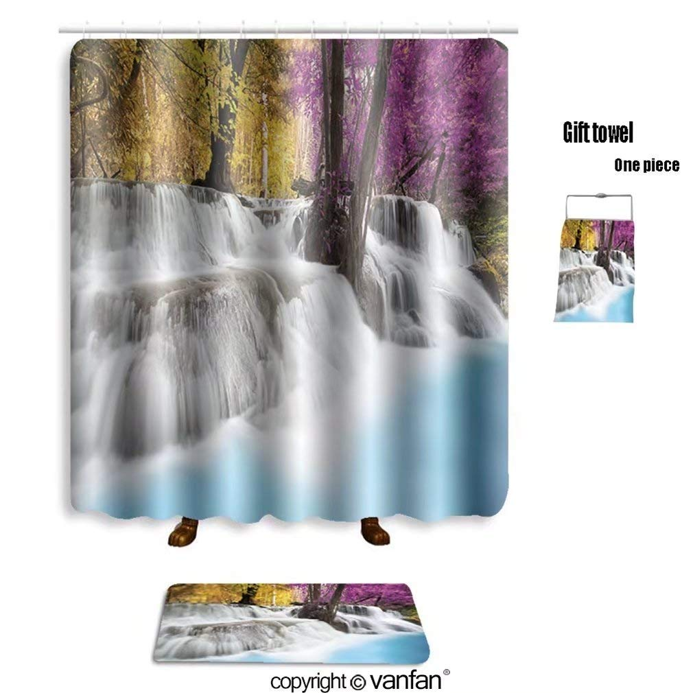 Get Quotations Vanfan Bath Sets Polyester Rugs Shower Curtain Level Six Erawan Waterfall In Kanchanaburi Curtains