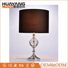 Decorative dinning room lamp warm light hotel modern crystal table lamp with fabric lamp shade