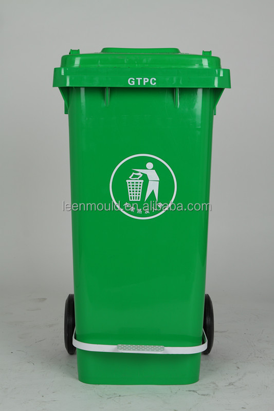China Dustbin 100l Green Outdoor Pedaled Waste Bin With Wheels ...