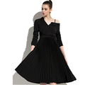 Black small dress off-the-shoulder knee suit dress female
