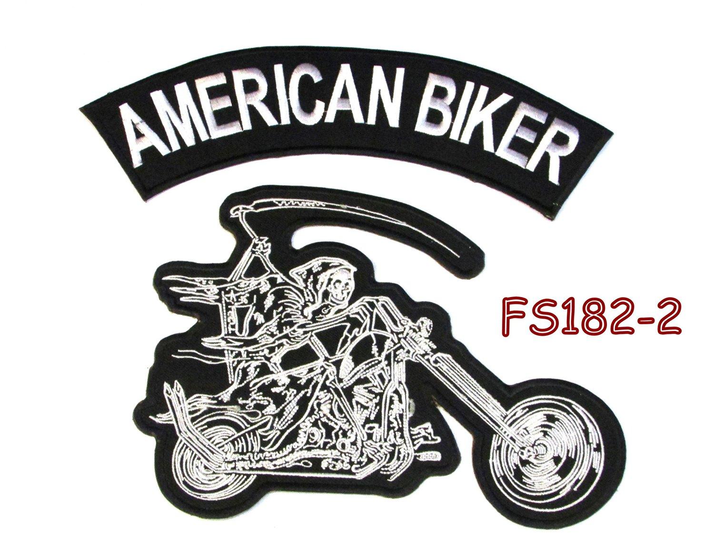 American biker Grim Reaper writing motorcycle Iron on Patch for Biker Vest FS182-2