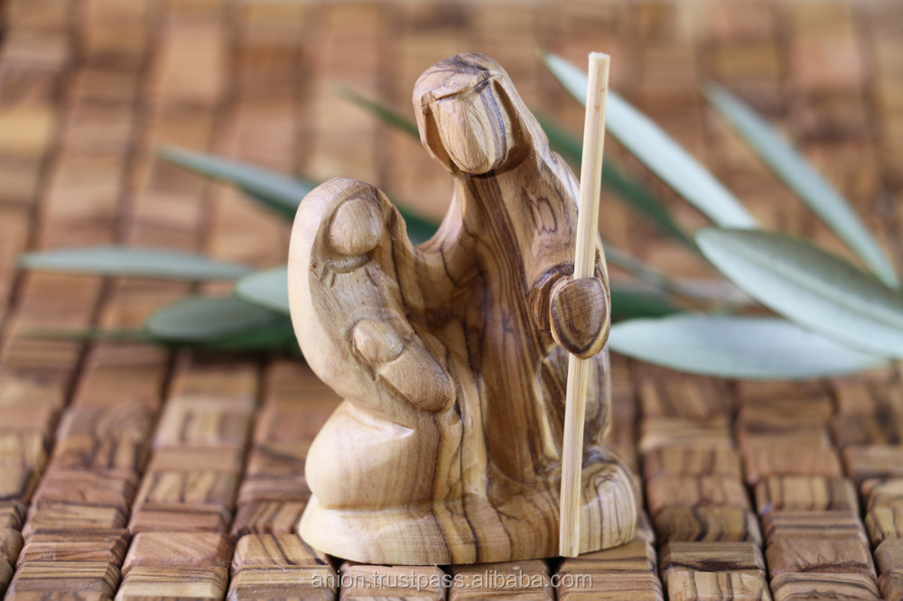 Christmas Composition Olive Wood Carved Holy Family