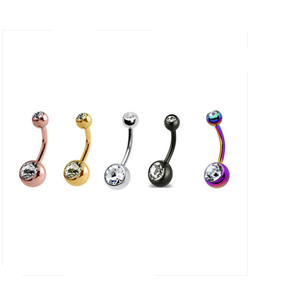 Stainless Steel Belly Bars Navel bar Ring Gold Body Piercing Jewelry Double Gem Belly Bars