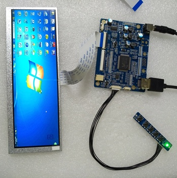 7.7 inch 1280x400 stretched bar type LCD display with HDMI controller board (Android/HDMI controller board are available too)