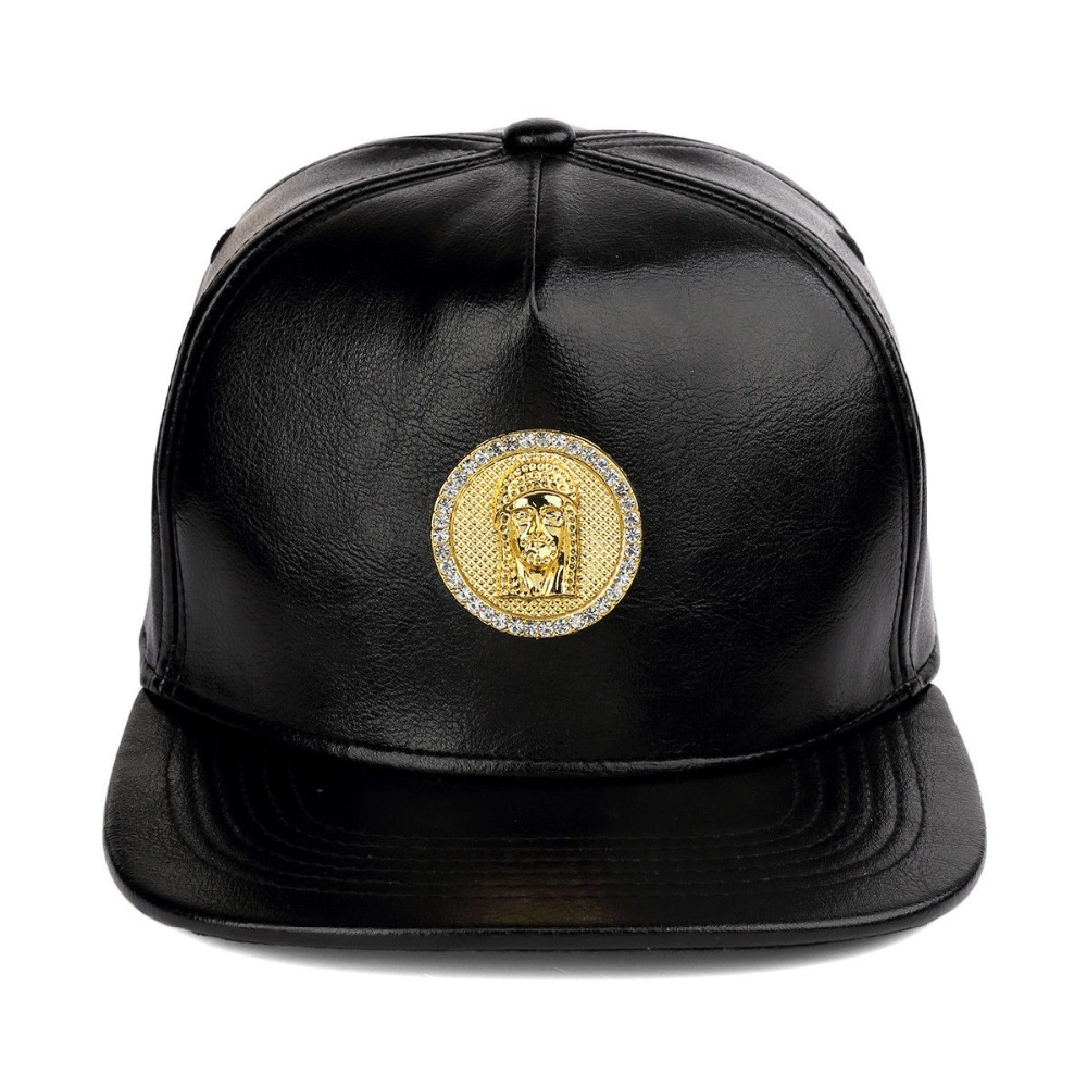 5 Panel Unstructured PU Leather Snapback Cap With Rhinestone Gold Metal Badge